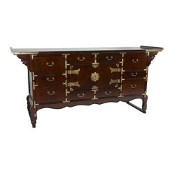Oriental Furniture - Korean Tansu Style 13 Drawer Buffet Server - Authentic Japanese / Korean antique style chest with thirteen carefully and beautifully crafted drawers and a practical center cabinet. The traditional brass hardware fittings and Tori style cantilevered top provide a stylish far eastern design accent to the decor of your living room, dining room, or office.