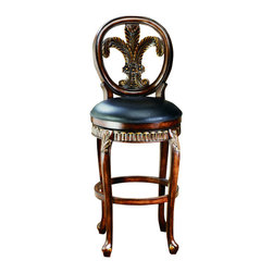 Hillsdale Furniture - Hillsdale Fleur De Lis Triple Leaf 25 Inch Counter Height Stool - Classic, elegant and majestic, the Fleur de Lis stool is all of this and more. This swivel stool has a warm cherry finish with golden highlights and black leather seat.