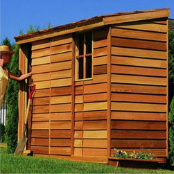 Cedar Shed - Cedar Shed 8 x 3 ft. Yardsaver Storage Shed Multicolor - Y83 - Shop for Sheds and Storage from Hayneedle.com! Additional features: Complete with one year limited manufacturer's warranty Includes a non-functional window for natural light Sliding door can be mounted on the left or right side Assembly is easy with all necessary tools even the bit included Wood arrives pre-cut and ready to build Cedar features natural oils that preserve wood and resist insect damage When you need to maximize limited space look no further than the Cedar Shed 8 x 3 Ft. Yardsaver Storage Shed. It's engineered for narrow spaces like sides of homes or along fences. This storage shed includes a window and door that can be mounted on either side to accommodate your needs. Ships with all the necessary tools for easy comprehensive assembly.For your convenience liftgate service is included with this purchase. This means that upon delivery the carrier will use a liftgate on the truck to lower your item to the ground. You will then need a dolly or handtruck or assistance with the product from that point on. Many retailers charge for this service of getting the package off the truck or require the customer to do it themselves.About Cedar Shed IndustriesSince 1980 Cedar Shed has grown to be one of the largest specialty cedar product manufacturers in the world. They offer top quality products like gazebos sheds and outdoor furniture all made from high-quality Western Red Cedar. Over the years Cedar Shed has grown developed and matured to the point where they are now shipping thousands of gazebos and garden sheds every year to customers around the world. Why Western Red Cedar?The supremacy of Western Red Cedar as an all-weather building material is entirely natural. Along with its beauty stability and endurance Western Red Cedar contains natural oils that act as preservatives to help the wood resist insect attack and decay. Properly finished and maintained Western Red Cedar ages gracefully
