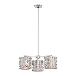 Minka George Kovacs - Minka George Kovacs Layover 3-Light Chrome Chandelier - This 3-Light Down Chandelier is part of the Layover Collection and has a Chrome Finish and Chrome with Frosted White Glass.