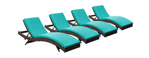 Modway Furniture - Modway Peer Chaise Set of 4 in Brown Turquoise - Chaise Set of 4 in Brown Turquoise belongs to Peer Collection by Modway Don't let moments of relaxation elude you. Peer is a serenely pleasant piece comprised of all-weather cushions and a rattan base. Perfect for use by pools and patio areas, chart the waters of your imagination as you recline either for a nap, good read, or simple breaths of fresh air. Moments of personal discovery await with this chaise lounge that has fold away legs for easy storage or stackability with other Peer lounges. Set Includes: Four - Peer Outdoor Wicker Chaise Chaise (4)