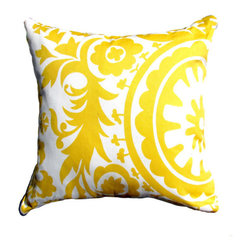 Yellow Pillow Cover- Yellow & White Suzani Decorative Pillow Cover - Fresh Modern Colourful Eclectic —Spruce up your lounge with this lovely, intricately designed Coral Suzani pillow cover.