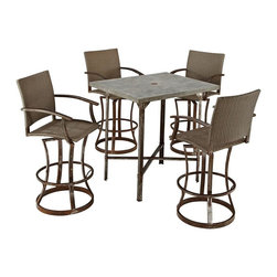 HomeStyles - Urban Outdoor 5PC High Dining Set - Clear coated rusted aged metal. Fake rivet heads on table base. Ball bearing swivel. Synthetic-weave seat and back. Table Dimensions: 36 in. W X  30 in. D X  42 in. H. Chair Dimensions: 24.5 in. W X  26 in. D X  48 in. HStrength meets beauty in this urban industrial design.  The Urban Outdoor collection by Home Styles displays unrefined beauty in the midst of aged metal rust sealed with a clear coat. This 5-piece bistro set consists of molded concrete over a light weight core table top with metal base, CycropleneTM, a synthetic-weave, and clear coated rusted aged metal chairs.  Design features include ball bearing swivel, sculpted base, and fake rivet heads. Set includes bistro table and four stools. Table size: 36w 30d 42h. Stool size: 24.5w 26d 48h, each.