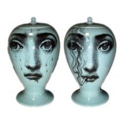 """Fornasetti Vase Avio il Fumo fa Male Limited Edition - Dimensions: 11.8"""" H."""