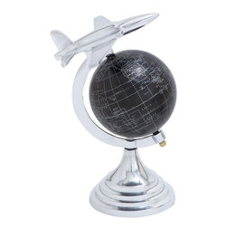 "Benzara - Aluminium Globe with Airplane Axis Design - Brighten up your interiors with this excellent aluminum globe. This Sturdy Modern Aluminum Globe with Airplane Axis Design radiates the beauty of the medieval era in a modernistic format. It could provide the room with a source of positive energy as it represents success in life. It can ideally be placed in your study or on a table in the living room. This home decor item is crafted from high quality aluminum that is used in making the spherical structure of the globe. The sophisticated style and intrinsic features of this compact looking metal globe makes it more captivating and stylish. The metallic globe is washed in pure matte black that is then used as a background to print the world map in fine white lines. It has a glittering axis that sports an aircraft at the top which suggests flight in general. It is an ideal gift item for your loved ones too..; Made from aluminium; Sturdy round base with shiny finishing; Matte background with white line world map; Airplane taking flight on top of the axis; Weight: 1.54 lbs; Dimensions:8""W x 8""D x 11""H"