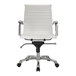 Hampton Modern - Modern Ribbed Mid Back Office Chair, White Leatherette - This classically designed mid back desk chair offers a sleek look for any office setting. The ribbed leatherette seat provides just the right amount of give to sit comfortably for hours. Don't be fooled by the minimalist design though, this chair also sports a locking tilt function, adjustable height lever, and tilt tension knob. Chair is set on rolling casters. Metal arms are removable.