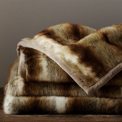 Faux Fur Throw, Brown Wolf