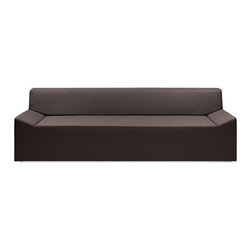 """Blu Dot - Couchoid Sofa - A beautifully simple shape above a sleek chrome-plated base, the Couchoid Sofa is guaranteed to be more aerodynamic than your old couch. A hardwood frame with high-density foam makes for comfortable lounging. The cow-friendly leather alternative is available in dark brown, white, or robin's egg blue and features contrast stitching. Couchoid is available here in a generous 92'' size. Features: -Recessed, chrome-plated base.-Dried hardwood frame.-Sinuous spring.-High density foam cushioning.-View the.-Dark brown has golden brown stitching.-White has grey stitching.-Robin's Egg Blue has citrus green stitching.-Upholstered in a cow-friendly leather alternative.-Available in dark brown, ocean, white, or robin's egg blue faux leather.-Collection: Couchoid.-Distressed: No.Dimensions: -Overall Dimensions: 28'' H x 92'' W x 34'' D.-Seat Height: 15''.-Seat Depth: 24''.-Overall Product Weight: 168 lbs.-Overall Height - Top to Bottom: 28"""".-Overall Width - Side to Side: 92"""".-Overall Depth - Front to Back: 34""""."""