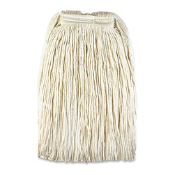 Genuine Joe - Genuine Joe Mop Head Refill - Rayon, Cotton, Polyester - Mop refill is designed for use with a Saddle or Jaws type handle because of its narrow 1 headband. Natural blend combines moisture-hungry rayon and cotton fibers with the abrasion-resistance and strength of polyester fibers. The polyester fibers add durability and fight bacteria. Mop refill absorbs six times its weight with no break-in period and is made with a high percentage of recycled material.