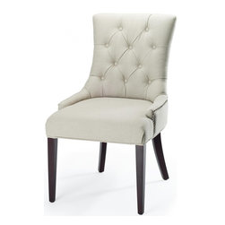 Safavieh - Amanda Leather Chair - Taupe - A buttoned-up elegance infuses the linen upholstered Amanda Chair in taupe fabric with cherry mahogany finished legs. A high back, curved rear legs and modest sloped arms produce a sophisticated profile at home in formal settings.