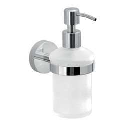 Gedy - Frosted Glass Soap Dispenser With Wall Mount - Frosted glass soap dispenser with cromall and stainless steel pump, holder and wall mount.