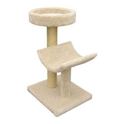 Molly and Friends - Bed and Cradle Sisal Scratching Post - All your cat could ever need! The 2-Tier Sisal Scratching Post features a two post design with a different type of bed on the top of each. With one post made of sisal roping and the other of carpet this amazing 2-tier scratching post meets all of you ferocious felines clawing needs. Create a unique look by mixing and matching the carpet and sisal options. Create a unique look by mixing and matching the colors of the parts and posts. Features: -4'' solid untreated heart of pine core posts.-Parts include cat bed and cradle.-Guaranteed not to tip, strong enough for multiple cats.-Includes one 2 foot section of wrapped sisal rope on one post.-Separate carpet color for parts and poles.-Distressed: No.-Country of Manufacture: United States.Dimensions: -Dimensions: 37'' H x 21'' W x 19'' D, 39 lbs.-Overall Height - Top to Bottom: 37.-Overall Width - Side to Side: 37.-Overall Depth - Front to Back: 19.-Overall Product Weight: 39 lbs.