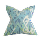 """The Pillow Collection - Farrar Ikat Pillow Blue - Create a casual and cozy living space with this refreshing throw pillow. This decor pillow suits all kinds of furniture with its 18"""" measurement. This square pillow features a traditional ikat-inspired pattern in shades of green, white, and blue. Made in the USA, this accent pillow is made with 100% durable polyester fabric. Hidden zipper closure for easy cover removal.  Knife edge finish on all four sides.  Reversible pillow with the same fabric on the back side.  Spot cleaning suggested."""