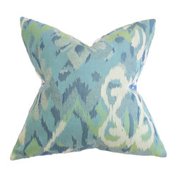 "The Pillow Collection - Farrar Ikat Pillow Blue 18"" x 18"" - Create a casual and cozy living space with this refreshing throw pillow. This decor pillow suits all kinds of furniture with its 18"" measurement. This square pillow features a traditional ikat-inspired pattern in shades of green, white, and blue. Made in the USA, this accent pillow is made with 100% durable polyester fabric. Hidden zipper closure for easy cover removal.  Knife edge finish on all four sides.  Reversible pillow with the same fabric on the back side.  Spot cleaning suggested."