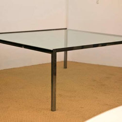 Florence Knoll Parallel Bar Coffee Table - A square version of the classic Florence Knoll steel coffee table produced by Knoll furniture circa 1960. Original half inch thick beveiled glass. The frame is in fine over all condition, with some slgiht age appropriate pitting.