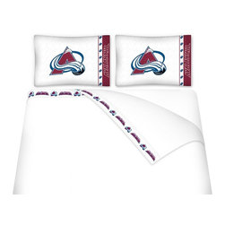 Sports Coverage - Sports Coverage NHL Colorado Avalanche Microfiber Sheet Set - Twin - NHL Colorado Avalanche Microfiber Sheet Set have an ultra-fine peach weave that is softer and more comfortable than cotton! This Micro Fiber Sheet Set includes one flat sheet, one fitted sheet and a pillow case. Its brushed silk-like embrace provides good insulation and warmth, yet is breathable. It is wrinkle-resistant, stain-resistant, washes beautifully, and dries quickly. The pillowcase only has a white-on-white print and the officially licensed team name and logo printed in team colors. Made from 92 gsm microfiber for extra stability and soothing texture and 11 pocket. Sheet Sets are plain white in color with no team logo. Get your NHL Sheets Today.   Features:  -  92 gsm Microfiber,   - 100% Polyester,    - Machine wash in cold water with light colors,    -  Use gentle cycle and no bleach,   -  Tumble-dry,   - Do not iron,