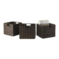 Winsome Wood - Small Foldable Basket - Set of 3 - Set of 3. Chocolate finish. No assembly required. Baskets opening: 11 in. W x 10.24 in. D x 9 in. H. Folded: 19.88 in. W x 2.36 in. D x 9.45 in. H