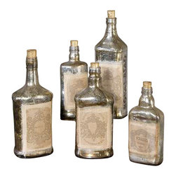 Uttermost Recycled Bottles Set/5 - Recycled mercury style glass bottles with artwork adorned to front and cork stoppers. Each set of five will be in the same size range but as bottles are recycled they will be different bottles each time. Recycled mercury style glass bottles with artwork adorned to front and cork stoppers. Each set of five will be in the same size range but as bottles are recycled they will be different bottles each time. Sizes will range from 6 inches to 12 inches tall.