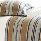 Pine Cone Hill - blue heron blanket - The blue heron blanket offers texture, vivid color, and graphic horizontal stripes all on a durable, yarn-dyed woven cotton blanket.��This item comes in��blue/tan.��This item size is��various sizes.