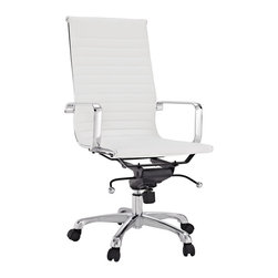 Modway - Malibu High-back White Vinyl Office Chair - Give your office a retro flair with this aluminum high-back office chair. The executive styling of this highly polished office chair will work well with any office decor, while the white cushioned seat offers comfortable seating all day.