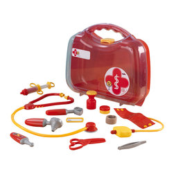 KidKraft - Doctor's Take Along Kit - Red by Kidkraft - It�s no fun being sick, but young boys and girls just love playing doctor. Our Doctor�s Kit Play Set comes with a pretend stethoscope, a pretend blood pressure monitor and several other fun accessory pieces.
