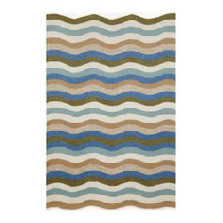 Trans Ocean Import Co Carlton Waves Indoor / Outdoor Rugs - Like a brand new fresh bathroom towel, the clean wave pattern of the Trans Ocean Import Co Carlton Waves Indoor / Outdoor Rugs refreshes. Its black, blue, brown, green, ivory, and natural pattern matches many common color schemes. An indoor or outdoor rug, this one is made of 100% natural wool and hand-tufted for exquisite beauty.