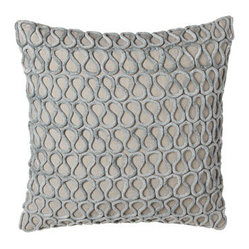 "Callisto Home Pillow w/ Aqua Velvet Detail, 22""Sq."