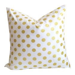 Gold Polka Dot pillow cover, White with Gold Foil, 16 Inches - Throw pillow cover, fits one 18 inch square throw pillow.