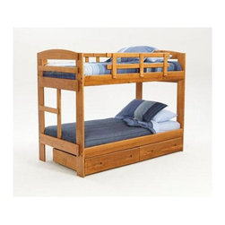 """Sunset Trading - Twin Over Twin Bunk Bed - NOTE: ivgStores DOES NOT offer assembly on loft beds or bunk beds.. Includes underbed storage drawer. Warranty: One year. Made from solid southern yellow pine. Honey pine finish. Made in USA. Assembly required. 96.75 in. L x 42.25 in. W x 61.5 in. H (208.07 lbs.). Bunk Bed Warning. Please read before purchase.This beautifully designed furniture supplied by Sunset Trading will assure you many years of use and enjoyment. All bunk beds have been tested by an independent laboratory to make sure that beds conform to federal safety standards. All certificates of compliance are currently on file at our manufactures corporate offices. ASTM F-1427-96 """"Standard Consumer Safety Specifications for Bunk Beds"""". Perfectly suited for your son or daughters bedroom the Rustic Collection from Sunset Trading provides space-saving comfort and convenient storage for any childs room. Kids will love its fun and inviting appearance. Parents will love it for its timeless appeal, space-saving convenience, durability and abundant storage. Its natural rustic look will grow with your child for years to come."""