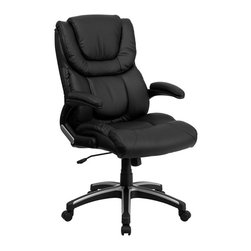 Flash Furniture - Flash Furniture High Back Leather Executive Office Chair in Black - Flash Furniture - Office Chairs - BT9896HGG - This well padded Black Leather Office Chair has very nice contours that you can feel. Besides the generous padding equipped with this chair it has a locking tilt control pneumatic seat lift and a sturdy nylon base that is trimmed in silver.