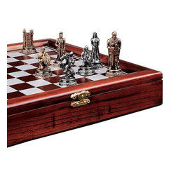 """EttansPalace - 10"""" Sq. Wide """"The Knight's Mortal Conflict"""" Wood-Framed Chess Set - You'll draw upon the rich tales of knights of the royal realm each time you take up the intricately detailed knights, queens, bishops and fair damsels in our chess set. The 10"""" square, wood-framed playing board opens with a metal clasp to store and transport the quality designer resin pieces. A museum-quality gift for novice player or fledgling collector, this is another handsome exclusive!"""