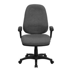 Flash Furniture - Flash Furniture High Back Computer Chair with Adjustable Arms in Gray - Flash Furniture - Office Chairs - BT661GRGG - This gray computer task chair has all the features needed to ensure that comfort even on the days that seem never-ending. Characteristics such as built-in lumbar support, height adjustable seat, back, and arms, and its ergonomic design make this task chair perfectly customizable for your use. [BT-661-GR-GG]