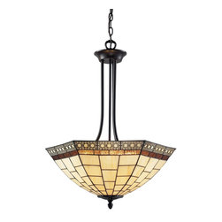 Z-Lite - Z-Lite Prairie Garden Pendant Light X-P53-22Z - This reverse style Pendant Light uses clean geometric patterns colored in cream white and amber to create a timeless look. Finished in chestnut bronze, this fixture would be perfect in any part of the home.