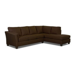 Klaussner Drew LAF Sofa Sectional with Chaise - Chocolate - The no-nonsense lines of modern design get a gentle nudge into the accessible design that brought us the Klaussner Drew LAF Sofa Sectional with Chaise - Chocolate. This pleasant set includes a wide sofa and chaise lounge. When they're combined, you have an attractive corner unit that sports thick, square-bound cushions filled with firm, supportive foam. The exterior of rich, brown fabric is contrasted by the tapered feet of solid wood.Sofa dimensions: 82W x 37D x 39H in.Chaise dimensions: 36W x 86D x 39H in.Overall dimensions: 118L x 86W x 39H inAbout KlaussnerWith 16 U.S. manufacturing and distribution facilities and over 3,000 employees, Klaussner is well known for its quality, value priced home furnishings, produced by highly skilled employees and distributed by furniture retailers throughout the world. Asheboro, N.C., is home for several of Klaussner's manufacturing and distribution facilities as well as the company's corporate headquarters and a 100,000 square foot showroom. In recent years Klaussner has also begun to utilize worldwide sources to import leather upholstery, bedroom, dining room, occasional, entertainment, accents and most recently a full line of accessories. This has allowed Klaussner to become a full product and service provider for the whole home.