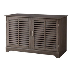 Threshold Shuttered Door Media Stand, Dark Gray - The finish on this shutter-style media stand has a vintage feel.