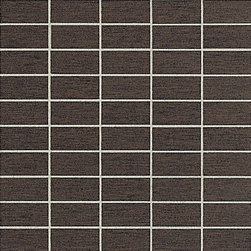 St Germain in Chocolat Mosaic - Emulating the superb texture of St. Germain district's fabrics, this tile is available in a tapestry of nine welcoming colors that also possess remarkably linear undertones. This contemporary, high fashion tile has a unique capacity to complement many room accents thanks in part to its soft, comforting effect.