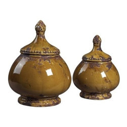Elk Lighting 9-12H in. Ceramic Jars - Set of 2 - Ceramic jars have been used decoratively for centuries, and the Elk Lighting 9-12H in. Ceramic Jars - Set of 2 shows you why. These accessories are sure to make your table or shelf an instant attraction.About E.L.K. LightingIn 1983, Adolf Ebenstein, Jonathan Lesko, and Russell King combined their lighting expertise to form E.L.K. Lighting Inc. From the company's beginning in eastern Pennsylvania, it has become a worldwide leader featuring manufacturing facilities and showrooms in the U.S. and abroad. Award-winning designs and state-of-the-art engineering give their lighting outstanding quality and value and has made E.L.K. the choice of such renowned places as the Historic Royal Palaces of England and George Vanderbilt's Biltmore Estates. Whether a unique custom design or one of their designer lines, all products are supported by highly trained technical and customer service teams. A commitment to providing superior lighting products with unmatched customer satisfaction remains at the heart of the E.L.K. family tradition.Please note this product does not ship to Pennsylvania.