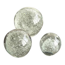 Two's Company - Set of 3 Bubble Sphere Paperweights - Two's Company Set of 3 Bubble Sphere Paperweights - Glass.