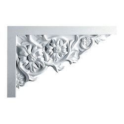 """Ekena Millwork - 11 3/4""""W  x 7 7/8""""H x  3/4""""P Floral Large Stair Bracket, Right - 11 3/4""""W  x 7 7/8""""H x  3/4""""P Floral Large Stair Bracket, Right. With the beauty of original and historical styles, decorative stair brackets add the finishing touch to stair systems. Manufactured from a high density urethane foam, they hold the same type of density and detail as traditional plaster stair bracket products. They come factory primed and can be easily installed using standard finishing nails and/or polyurethane construction adhesive."""