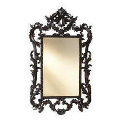 French Heritage - French Heritage Louis XV Mirror, Black - Hand carved beveled mirror - Weight: 57lbs