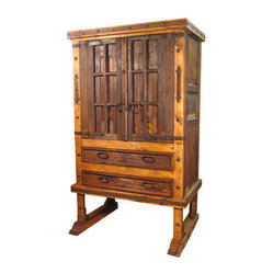 Mexican Artisans - Footed Old Door Armoire - This awesome armoire, fashioned from reclaimed wood, brings authentic Spanish flair to your decor. Old doors get new life in the one-of-a-kind piece, which flaunts weathered nuances and aged iron hardware as part of its charm.