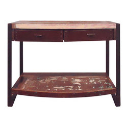 "YOSEMITE HOME DECOR - Console Table - This is sofa table is a perfect addition to any  Industrial/Urban Loft styled space. A unique combination of metal and solid mango wood. The hand stained and painted mango is accented by  a rough faux aged/rusted metal frame and wrapped draw face. The two drawers and a lower shelf supply ample storage space.  Assemble, Made in India.  Overall Item Dimension 42""Wx14""Dx32""H"