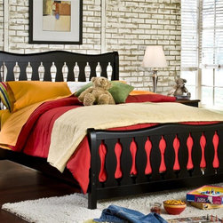 American Woodcrafters - Weekends Youth Captain's Bed (Twin/Single) - Choose Size: Twin/SinglePictured in Full/Double Size. Black with rub through. Mahogany solids and veneers. Headboard and footboard feature decorative slats and gracefully shaped top rail. Bed accepts the trundle unit when rails are in high position. 13-piece slat roll mattress support system is standard with this bed. Mattress not included. Twin: 41.5 in. W x 82 in. L x 48 in. H ( lbs.). Full: 76 in. W x 41.25 in. L x 10.5 in. H (83 lbs.)The bold, whimsical style of the Weekends Collection is well-suited for your child or teens bedroom.  The black with rub through finish goes with everything  from brightly-colored toys to inspiring artwork.  The Weekends Twin Captains Bed is made of mahogany solids with birch veneers. The headboard and footboard feature decorative slats and a gracefully shaped top rail.  No need for a boxspring as the 13-piece slat roll mattress support system is included.  Mattress is not included.