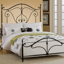 Hillsdale - Caffrey Bed Set - Clean lines and graceful arches characterize the Caffrey bed,which brings a traditional wrought iron look to your bedroom design. The set includes assembly hardware,coordinating metal rails,a footboard and a tall headboard finished in warm bronze.