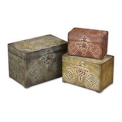 Uttermost - Hobnail Weathered Boxes, Set of 3 - Decorative and useful, these weathered boxes have hobnail accents to take them up a notch.  Stow precious objects, love letters and jewelry. Or use them for spare change, loose buttons or matches. Stack them together for a visual focus or apart in different rooms for practical uses.