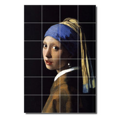 Picture-Tiles, LLC - Girl With A Pearl Earring Tile Mural By Johannes Vermeer - * MURAL SIZE: 25.5x17 inch tile mural using (24) 4.25x4.25 ceramic tiles-satin finish.