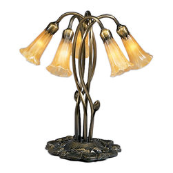 Meyda Tiffany - Meyda Tiffany 5-Light Amber Lily Accent Lamp X-13941 - From the Lily Collection, this Meyda Tiffany accent lamp features five lights housed within beautiful mouth blown lily shaped art glass shades. The warm tones of the amber art glass shades are a perfect compliment to the warm undertones of the Mahogany Bronze finish that has been used to highlight the fluid curvature and lily shaped base of the frame.
