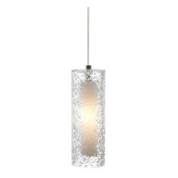 LBL Lighting - LBL Lighting Mini Rock Candy C LED Clear 6W Fusion Jack 1 Light Mini Pendant - LBL Lighting Mini Rock Candy C LED Clear 6W Fusion Jack 1 Light Mini PendantHandmade from start to finish, this beautiful cylindrical Clear Fusion Jack pendant is created by talented craftspeople. Beginning with a mouth-blown transparent glass cylinder, the glass is then rolled in Clear crystal frit, and finally flash heated to an extremely high temperature to create the unique texture on this stunning fixture. Enclosing an ultra energy-efficient LED lamp creating a soft glow from the inside, this attractive fixture will add a sense of style to any home.LBL's Fusion Jack is a versatile system that allows lighting pendants or heads to be used with a variety of systems including monopoint and multipoint Fusion Jack canopies as well as Monorail, LED Illuminated Monorail, and 2-Circuit Rail systems when used with appropriate low-voltage track adapters (canopies and adapters sold separately). Simply screw into any Fusion Jack canopy or element adapter and hand-tighten the threaded collar for easy installation.LBL Lighting Mini Rock Candy C LED Clear 6W Fusion Jack Features: