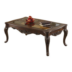 Homelegance - Homelegance Ella Martin Cocktail Table in Warm Brown Cherry - Homelegance - Coffee Tables - 1288301 - When adding the personal touches to your living space that reflect the warmth and elegance of your home the Ella Martin Collection is the perfect traditional table offering. Featuring a warm brown cherry finish smoked glass and gold tipped acanthus leaf motif.