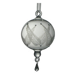 Glass Ornament with Etched Leaves Medium - Glass ornament mouth blown in Egypt with etched leaf design Heirloom quality.